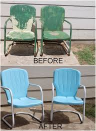 Turquoise Patio Furniture by Repaint Old Metal Patio Chairs Diy Paint Outdoor Metal Motel