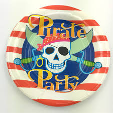 6pcs 7inch diameter 18cm pirate theme paper plates dishes for kids