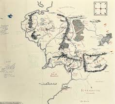 Real Map Of The World by Map Of Middle Earth With J R R Tolkien U0027s Handwritten Notes Sold