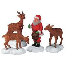 lemax santa feeds reindeer figurines set of 4 52146