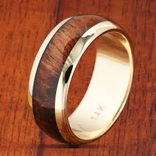 koa wedding bands 14k yellow gold koa wood wedding ring w free koa wood ring box