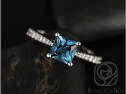 london blue topaz engagement ring rosados box 6mm 14kt white gold princess london topaz and