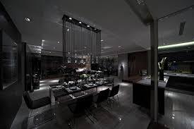 down lit moody modern dining in slate steve leung lighting night