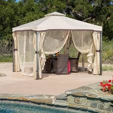 Pergola Gazebo With Adjustable Canopy by Amazon Com Sonoma Outdoor Iron Gazebo Canopy Umbrella W Net