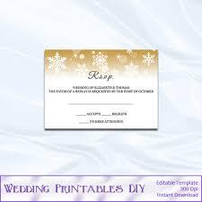 wedding invitations inserts rsvp template diy gold snowflake wedding enclosure card