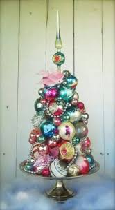 tabletop tree made of vintage ornaments it 2014 designs
