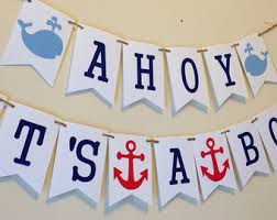 Nautical Theme Baby Shower Decorations - ahoy its a boy etsy