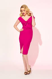 hot pink dress dixiefried niagara dress in hot pink vintage style wiggle dress