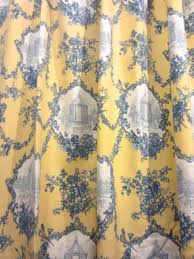 Blue And Yellow Shower Curtains Pair Thomasville Yellow Blue Country Toile Cotton Shower
