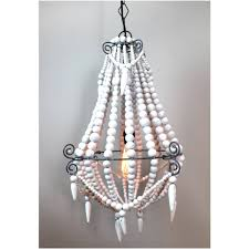 Country French Chandelier by Aged Wooden Beaded Big Chandelier Hand Made Lighting Fixture