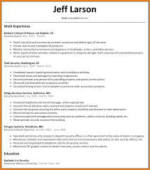 Resume Security Guard Resume Format For Security Supervisor Free Resume Example And