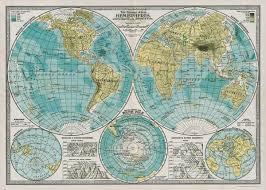 Vintage Map Amazon Com Cavallini Decorative Paper Hemispheres Vintage Map