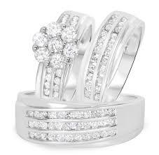 Wedding Ring Trio Sets by 1 5 8 Carat T W Diamond Trio Matching Wedding Ring Set 10k White Gold