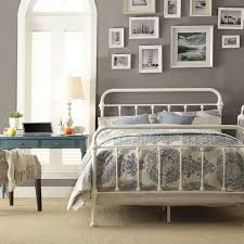 bed white metal bed frame queen home interior design