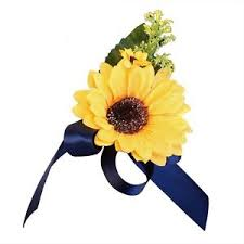 sunflower ribbon pin shoulder corsage artificial sunflower with navy blue