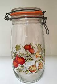 glass kitchen storage canisters vintage 2 arc glass canisters metal hinged mushrooms vegetables