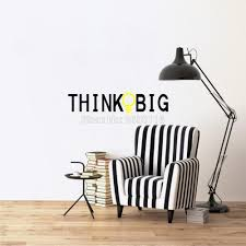 online get cheap big wall stickers quotes aliexpress com think big quotes wall sticker creative lamp lettering vinyl decal for home decoration china