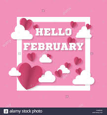 hello valentines day hello february sign with hearts and clouds in square s