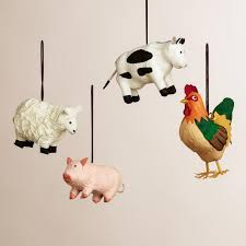 paper farm animal ornaments set of 4 world market