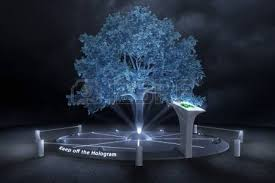 in a darken future the trees will be just hologram stock photo