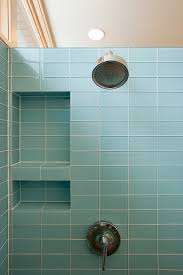 sophisticated built in soap storage with chrome wall head shower