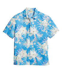 Halloween Hawaiian Shirt by Linen Blend Hawaiian Shirt Turquoise Floral Sale H U0026m Us