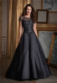 a line black satin tulle beaded formal occasion evening dress with