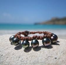 black pearl bracelet images Stunning bohemian leathered tahitian black pearls bracelet jpg