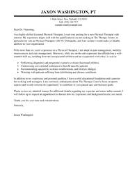 Example For Resume Cover Letter by Best Physical Therapist Cover Letter Examples Livecareer