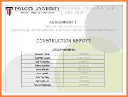 construction project report format free construction project