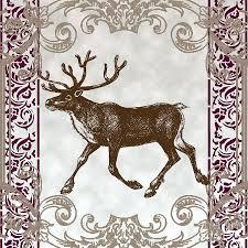 vintage deer artowrk mixed media by art world