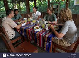 native medicinal plants western tourists having lunch at the huaorani ecolodge and