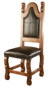 Old World Style Dining Chair with Upholstered Back  Seat  Woodland