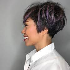 best highlights for pixie dark brown hair women s messy graduated pixie on black hair with purple