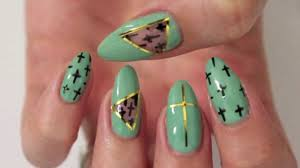 mint cut out nail design youtube