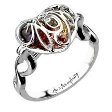 cheap mothers rings wholesale caged heart s birthstone ring engraved sterling