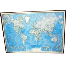 Huge World Map by Huge Vintage World Map By National Geographic Society Ebth