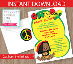 instant download baby shower invitations reggae one love baby shower invitation editable instant