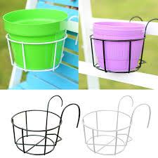 balkon blumentopf behokic metall runde pflanzen blumentopf halter mit haken für