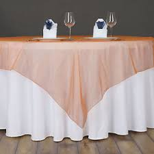 wedding linens for sale orange sheer organza 60x60 square table overlay toppers wedding