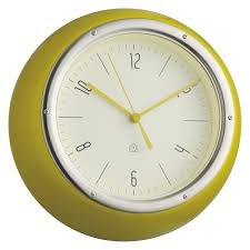 delia yellow metal wall clock buy now at habitat uk