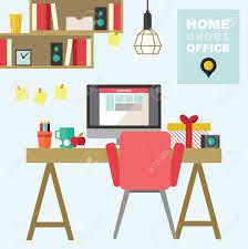 Flat Interior Design Home Office Flat Interior Design Illustration Royalty Free