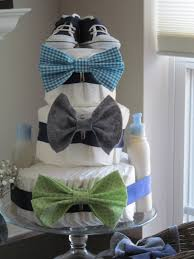 bowtie and chevron themes baby shower diaper cake baby shower