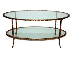 Glass Oval Coffee Table Antique Gold Hammered Iron Oval Coffee Table With Glass Dessau
