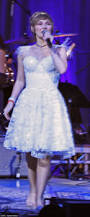 clare bowen performs on nashville tour in sparkling white lace