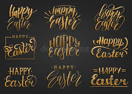 happy easter handwritten lettering set religious calligraphy