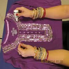 how to decorate a t shirt or blouse with sequins and beads and