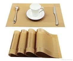 large plastic table mats 2018 vinyl golden placemats heat resistant dining table woven vinyl