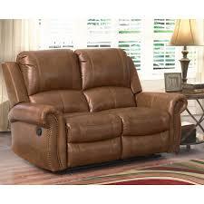 abbyson skyler cognac leather reclining loveseat free shipping