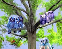 painting of owls and birds nest in tree painting by susanna katherine